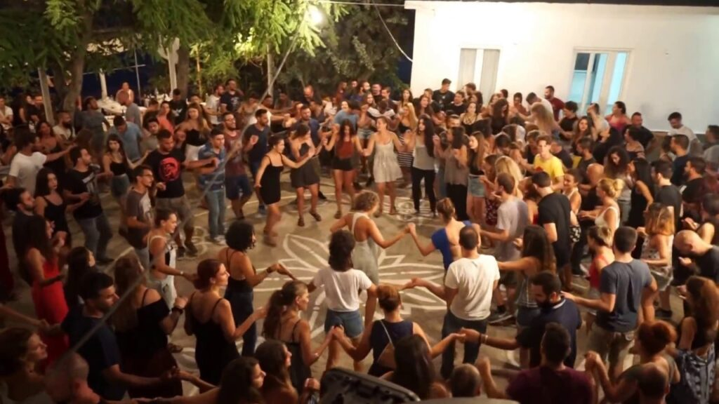 Greek people dancing in Ikaria festival