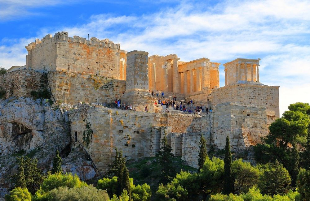 Acropolis Athens Propylae with people climbing