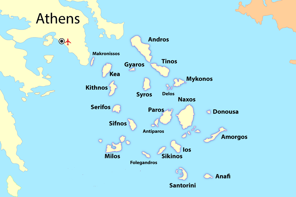 Cyclades Greek Islands Map