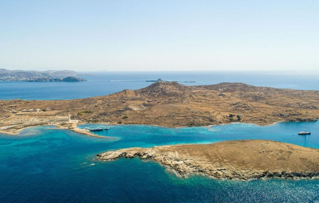 Greece Delos Island port, ancient site and Kynthos hill
