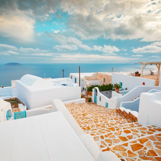 Anafi Greek island whitewash houses and sea view