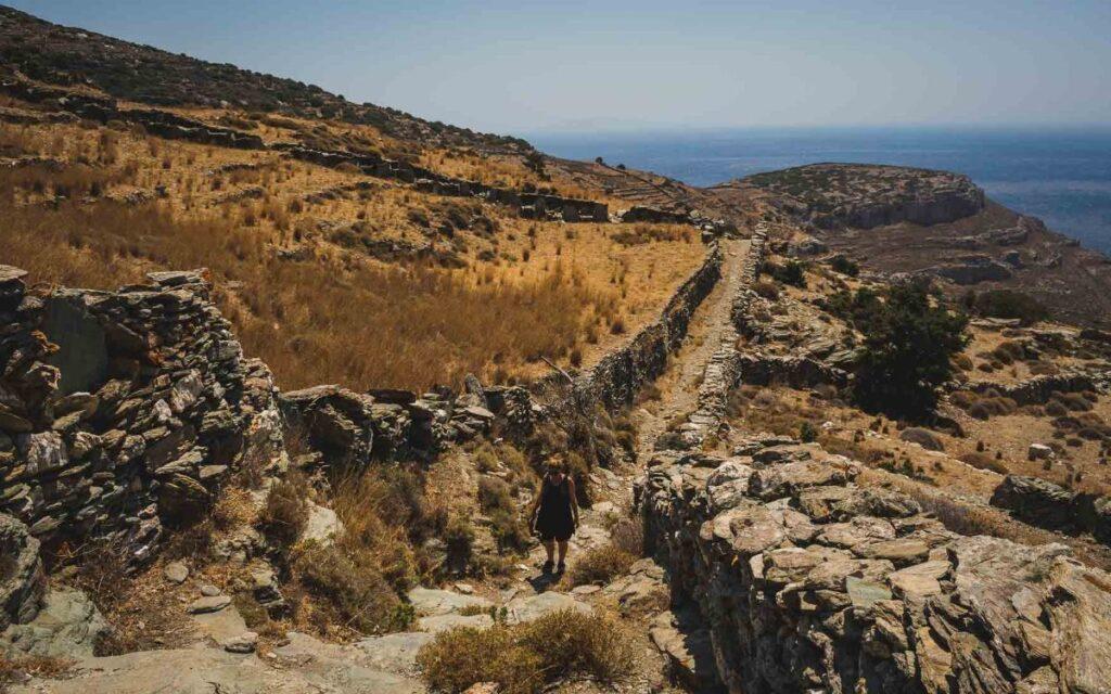 Andros trail summer barren mountain