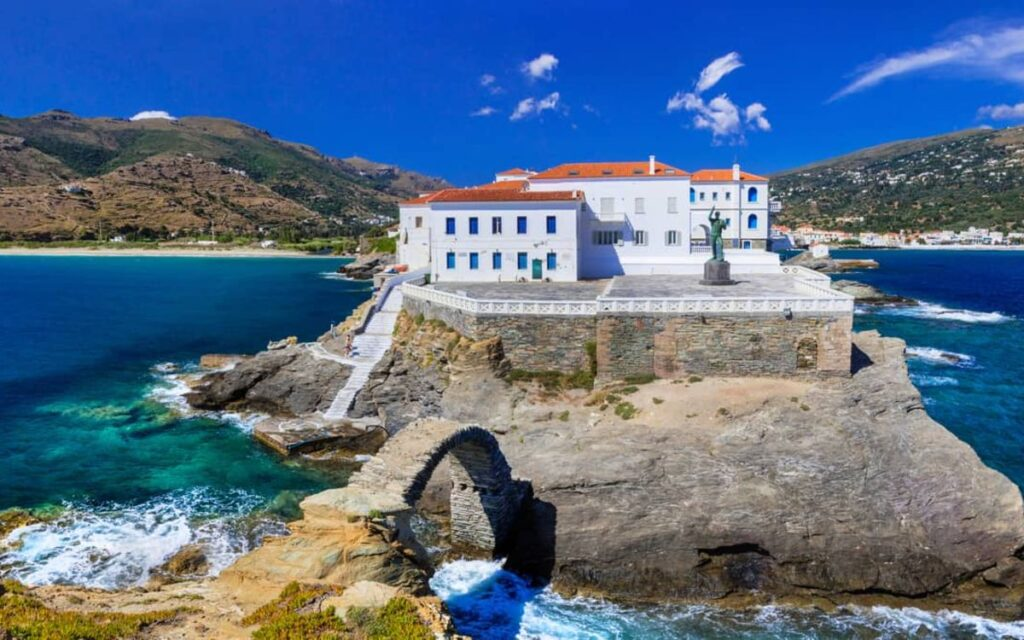 Andros Greece chora sea and old houses