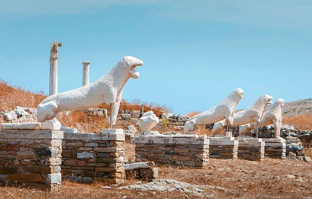 Delos Greek Island ancient site terrace of lions