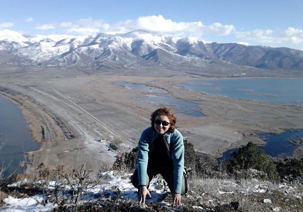 Evgenia in Prespes lakes smiling