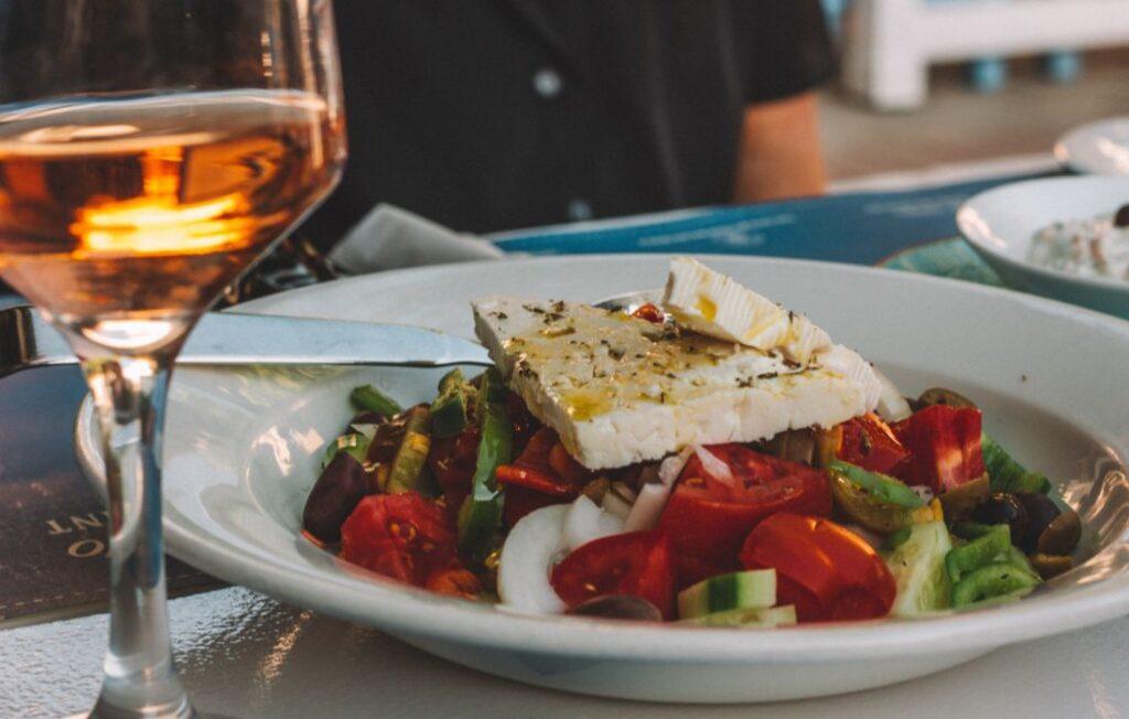 greek salad with wine