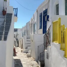 alley in Kastro Sifnos island with whitewashed houses