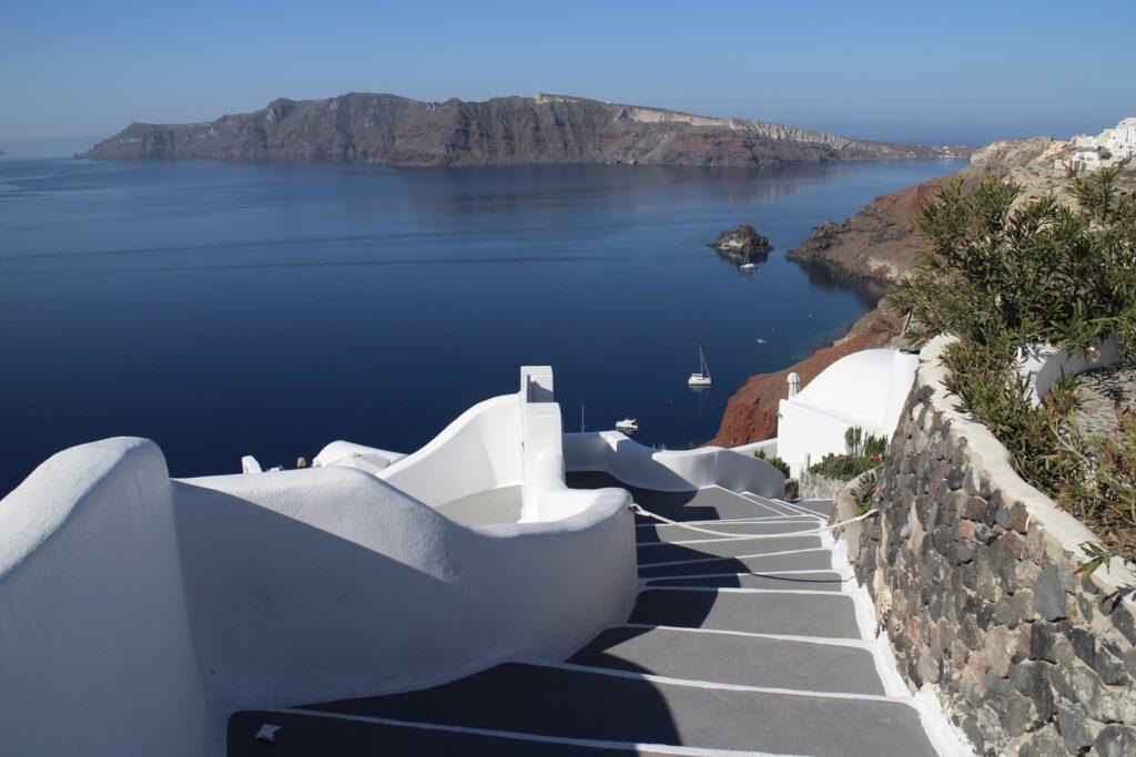 Santorini Oia stairs going towards caldera