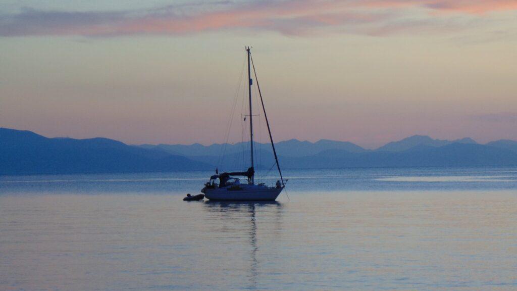 A Fishing boat in Salamina island sunset