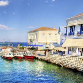 Port in Spetses with ships and buildings