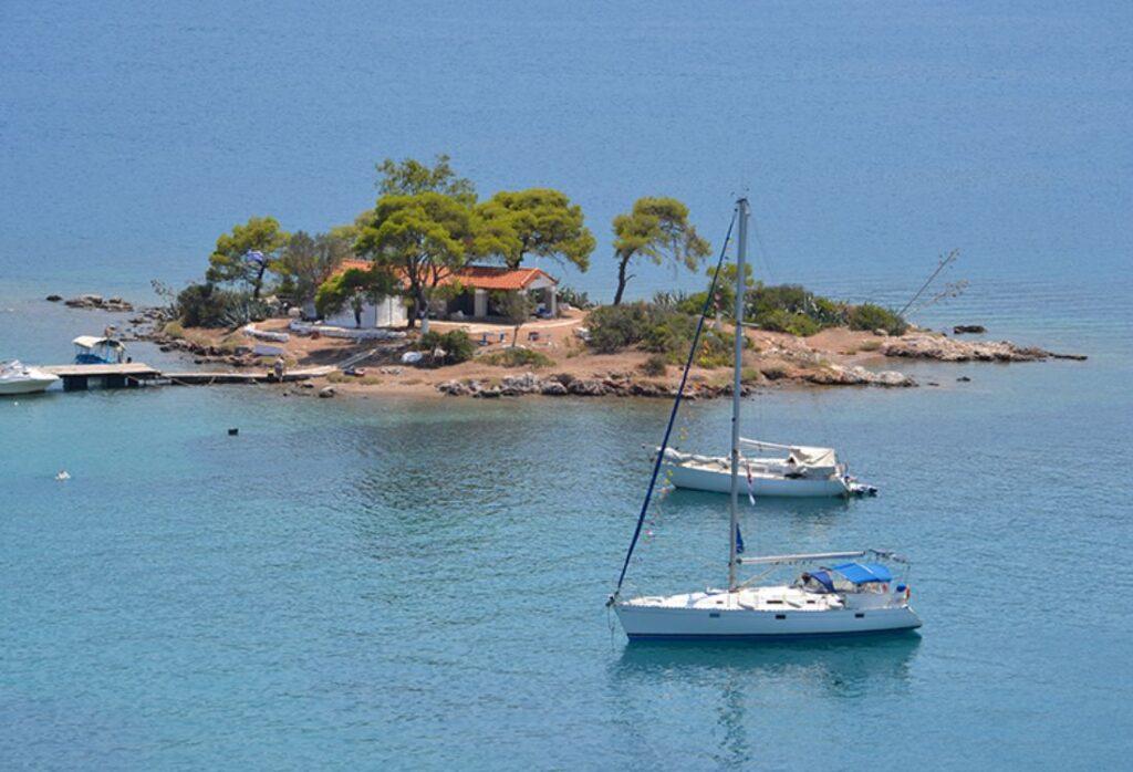 small island across Russian dock on Poros island greece
