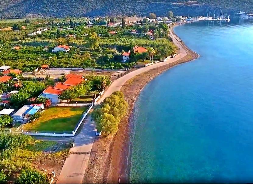 Palaia Epidavros seaside aerial view